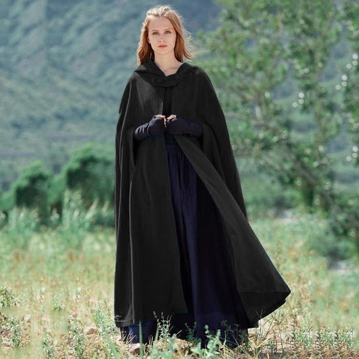 ZOGAA Women's Cloak High Quality Solid Design Vintage Thick Hoody Floor-Length Medieval Long Cape Hoods Overcoat Long Cloak