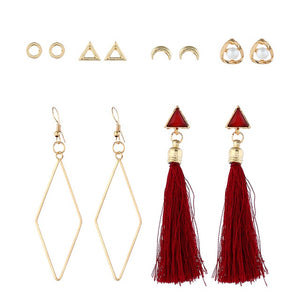 ZOSHI Fashion Geometric Earrings Set For Women Long Tassel 2019 New Vintage Gold Shell Earring Brincos Statement Jewelry Gifts