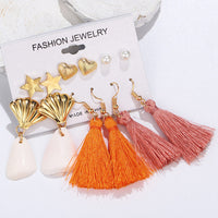 ZOSHI Fashion Geometric Gold Stud Earrings Set For Women Shell Earrings Long Tassel Earring Handmade Female Earrings Jewelry