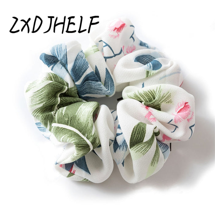 ZXDJHELF Luxury Soft Elastic Hair Band For Girl Floral Scrunchie Ponytail Loop Holder Women Print Stretchy Hair Accessories F097