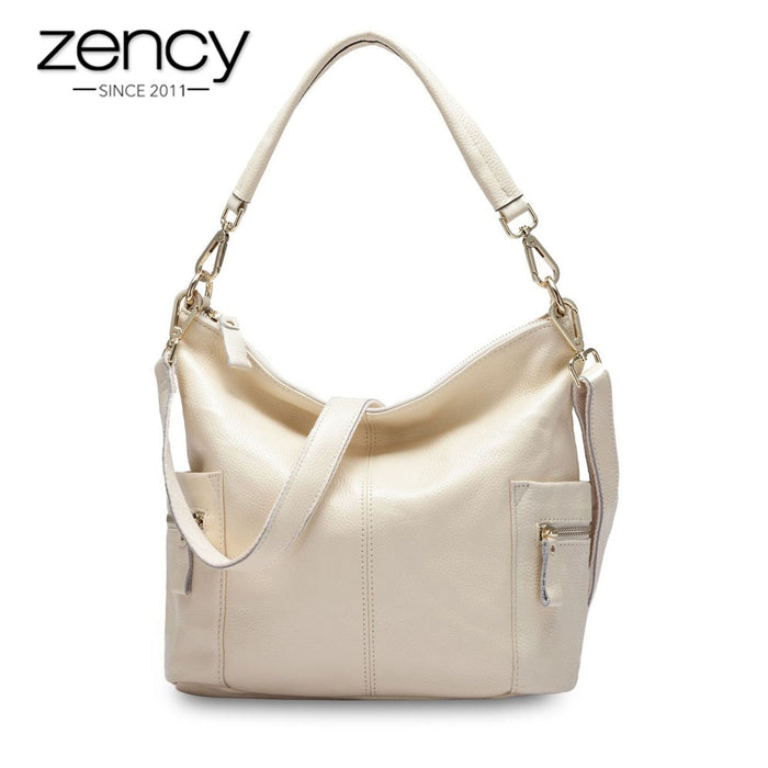 Zency 100% Genuine Leather Charm Women Shoulder Bag Large Capacity Beige Messenger Crossbody Purse Female Tote Handbag Black