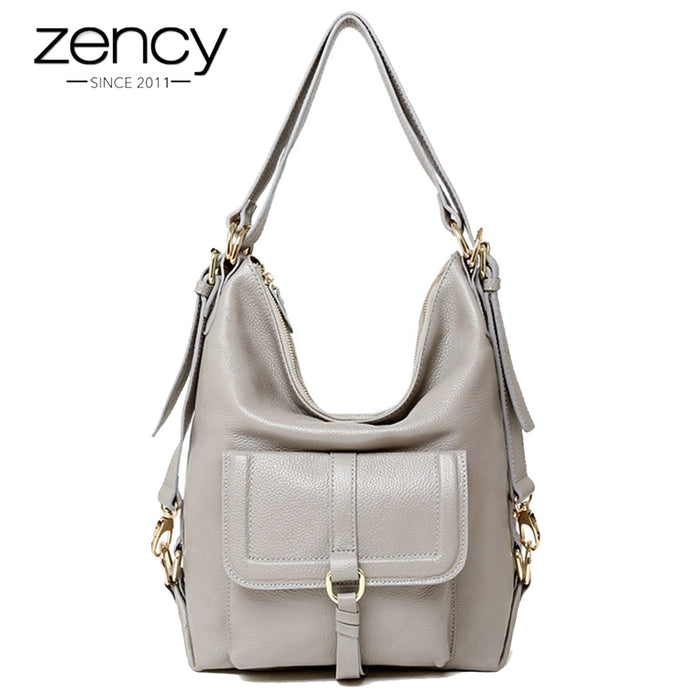 Zency Fashion Women Shoulder Bag 100% Genuine Leather Large Capacity Handbag Multifunction Use Satchel Crossbody Messenger Purse
