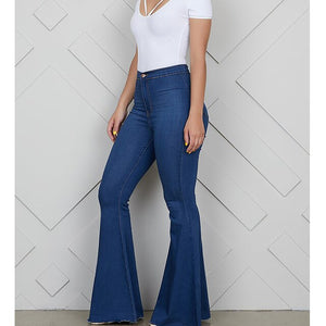 Zip up blue jeans woman Solid color high waist jeans Summer 2019 fashion long denim flare pants Push up skinny jeans women