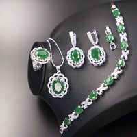Zircon Bridal Silver 925 Jewelry Sets Women Pendant&Necklace Ring Earrings With Natural Stones Bracelets Jewelery Gift