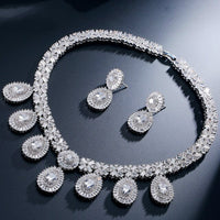 Zircons 2 Piece Super Sparkling Cubic Zirconia Stone Fashion African Nigerian Women Wedding Jewelry Set For Brides