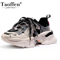 New Women Leather Round Toe Autumn Thick Bottom Casual Sneakers 2020