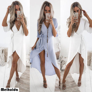 arrival Women Boho Deep V neck Solid Mini Dress 2018 New Summer Evening Party