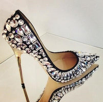 Luxury Black White Crystal Embellished Pumps Gold Stiletto Pumps Women  Wedding Shoes 2020