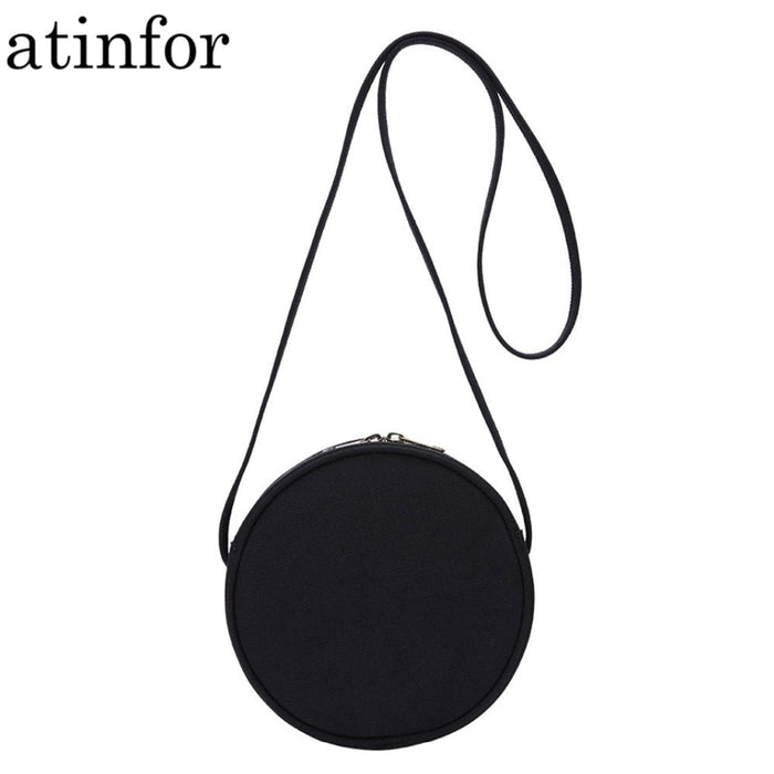 atinfor Eco Cotton Canvas Mini Bag Women Shoulder Bags Round Casual Daily Cross Body Cute Lady Handbags Purse Clutch