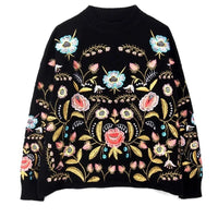 Round Collar Flowers Embroidery Top Loose Autumn Long Sleeve Woman's Sweater Fashion  2020