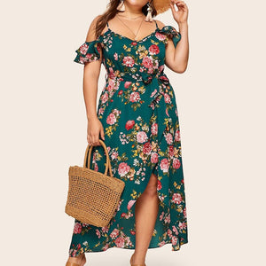 bohemian dress 2019 Summer Fashion Women Plus Size Cold Should Camis Print Short