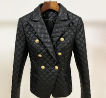 Brand fashion women's high-end luxury autumn and winter double-breasted lion buckle Slim leather suit Blazer Coat