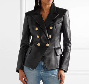 Brand fashion women's high-end luxury autumn high quality leather lion head metal buckle double-breasted slim leather blazer Coat