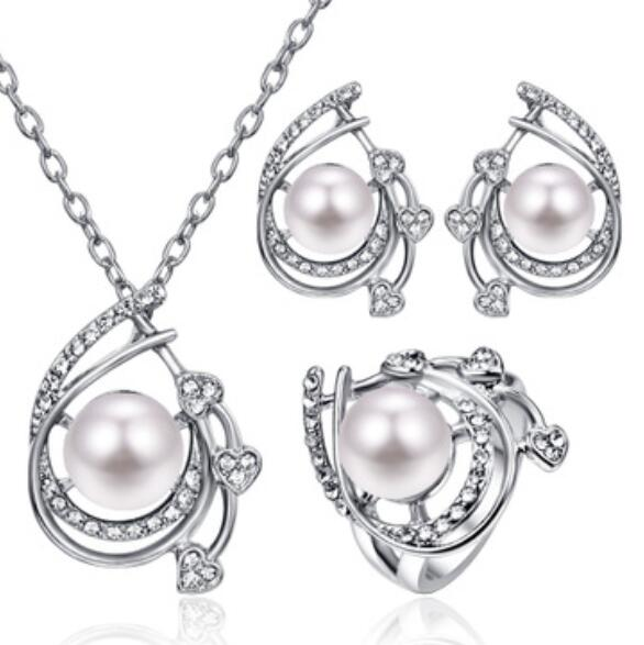 bridal Woman's Pearl Necklace earrings rings three-piece suit e-commerce explosive silver wedding style pearl Set African queen