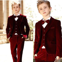 Burgundy Boy Formal Suits Dinner Tuxedos Velvet Suit Formal Wear