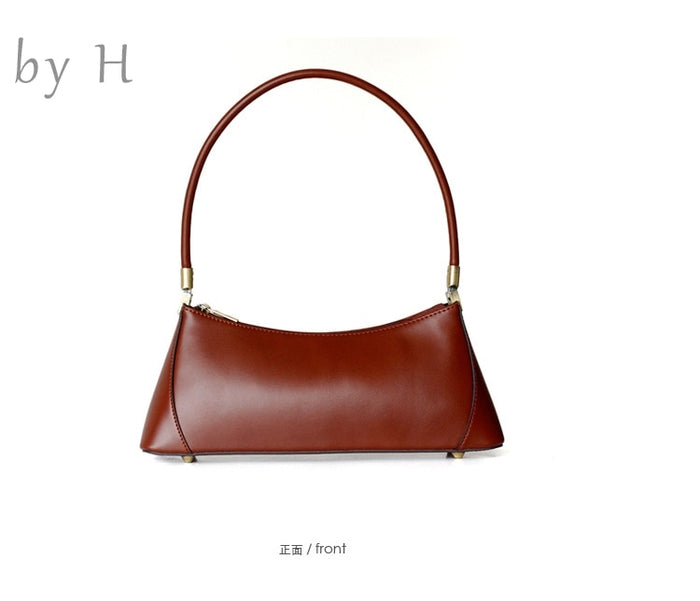 by H cow leather top handle shoulder bag chic baguette paris vibe womens day clutch purse handbag party bag 90s' vintage handbag
