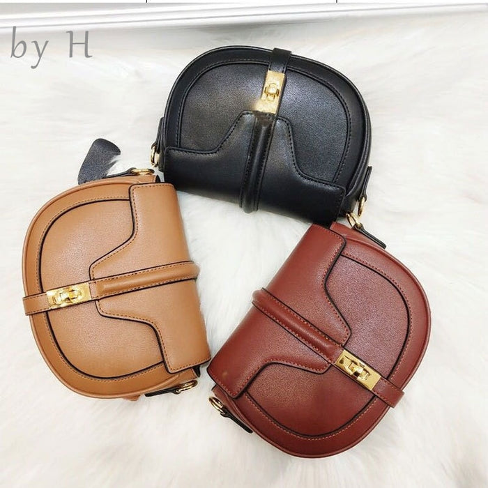 by H genuine leather vintage saddle bag luxury designers womens handbags cross body fashion shoulder bag messenger bags summer