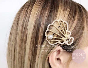 cute vintage retro pearl shell hair clips pins grips barrette headwear hairpins