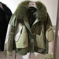 Real Natural Fox Fur womens Winter Jacket