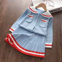 Autumn Winter Knitting Baby Girls Clothes Set Pocket Sweater Skirt Tracksuit Suit
