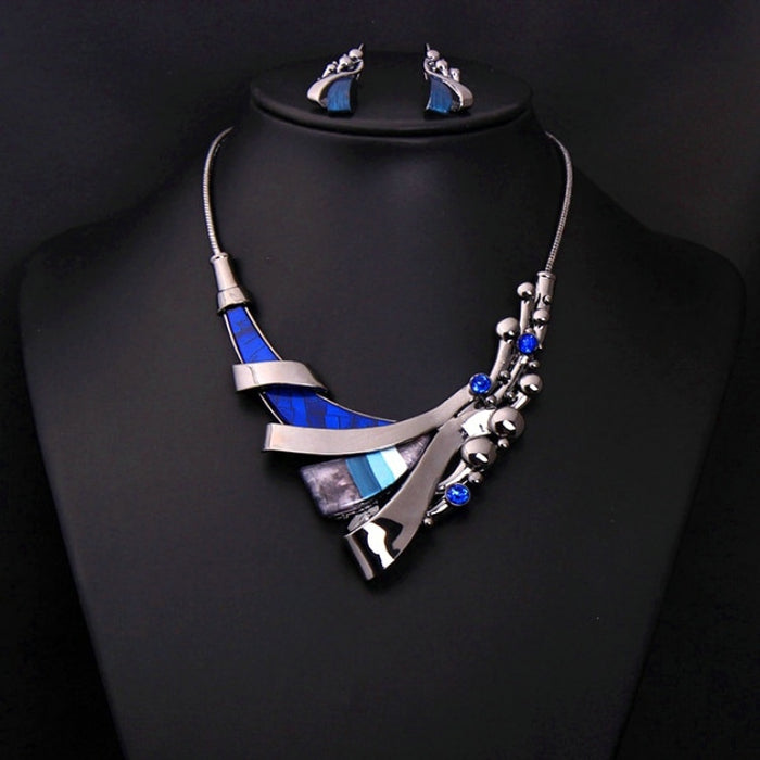famous brand 2 pieces  statement Necklace + earrings girl high quality colorful short female clavicle chain Women jewelry set
