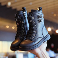 Children Boots Leather School Shoes High Top Rivets