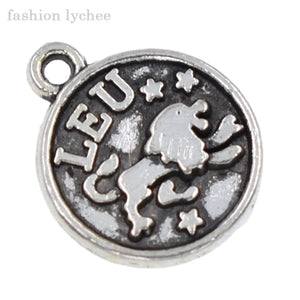 fashion lychee 12pcs Antique Silver Twelve Astrology Charms Zodiac Star Sign Round Pendant For Necklace DIY Jewelry Making