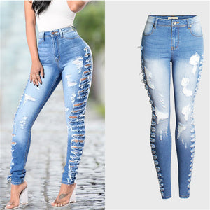fashion streetwear skinny pencil pants Side hole ripped jeans for women mid high waist jeans woman Bleached sky blue plus size