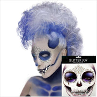 Festival Skull Bone Face Jewel with Teeth Makeup Sticker for Carnival Night Clubbing