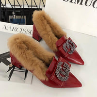Fur Pumps Women Wedding Shoes Block Heels Brand CC Buckle Rhinestone Winter Moccasins Red Color Female Furry Shoes Plush 2019