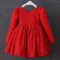 Full Lace Cotton Big Bowknot Princess Dress Kids Thick Wedding Party Dress