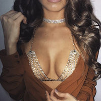 hinestone Crystal Bikini Bra Top Chest Belly Tassel Chains Crossover Harness Necklace Body Jewelry Festival Party Cover Up