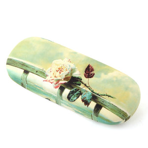 iboode Oil Painting Glasses Case Box Women Hard Leather Reading Glasses Case Men Retro Unisex Floral Print Eyewear Protector