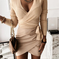 Pleated Asymmetric High Waist Mini Skirt