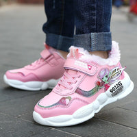 Winter Girls Sneakers Children Shoes For Kids Sneakers Girls Shoes Plush Lining Warm