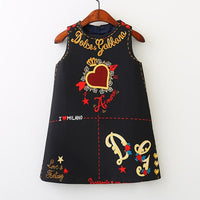 American Style embroidery Flower vest dress toddler Baby Girls clothing