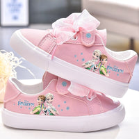 Disney girls frozen princess white Bow canvas shoes non-slip soft