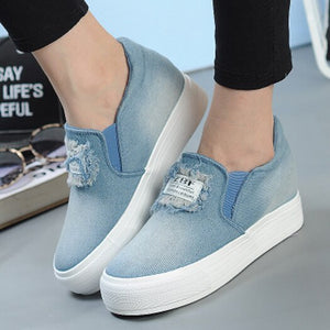 jeans wedge fringe platform retro canvas shoes women denim trainers height increasing creepers blue harajuku sneakers tassel
