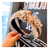 knot pearl hairband for women wedding bridal hair accessories black lace headbands ladies wide korean style women 2019 hair hoop