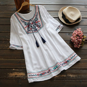 Embroidered Shirt Tops Women Lace-up Tassel White Blous