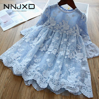 Girls Dress Wedding Party Princess Dress Casual Kids Clothes Lace Long Sleeves Dress
