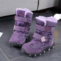 Girl Shoes Kid's Boys Fashion Plus Velvet Warm Waterproof Non-slip Boot TPR Purple