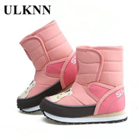 Kids Winter Girls Snow Boots Warm Shoes Sole PU Casual Shoes Non-slip Rubber Cat