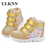 Leather Flower Pattern Running tenis infantil menina Gold 2020 Kids Sneakers Children