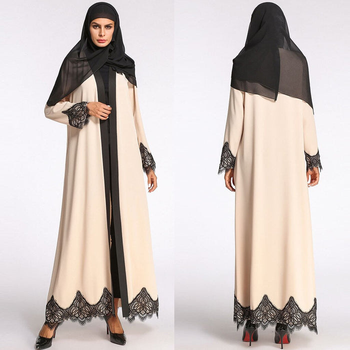 long muslim dress women Abaya Dress Cardigan Robe Turkish Hijab Islamic Prayer Clothing lace muslim hijab dress women#G8