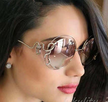 Luxury sunglasses Diamond Pink Round Sunglasses Women Unique Rhinestone Snake Designer Sun Glasses Female Ladies Shades