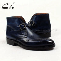 cie square toe full brogues medallion patina blue 100%genuine calf leather boot goo