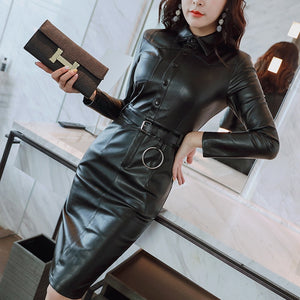 women's clothing slim fit pu dresses high imitation leather dresses elegant women's