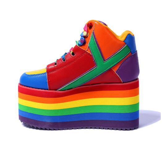 newest autumn winter ladies platform shoes Rainbow stripes 10 cm wedges sneakers lace up height Increase ankle boots for girls