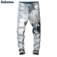 Men's vintage carp embroidery patchwork jeans Slim fit straight stretch denim pants 2020